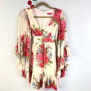 Betsey Johnson BOHO Floral Dress Bell Sleeve